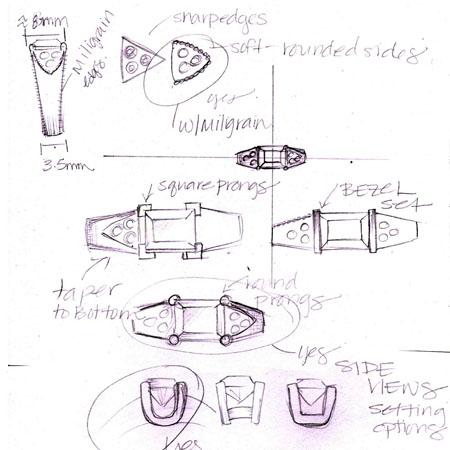 Custom Jewelry Design , Sketching , CAD
