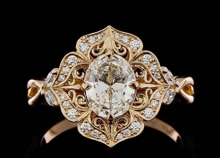 Spectacular Filigree Halo Ring