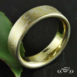 18KT YELLOW AND STERLING SILVER MOKUME BAND