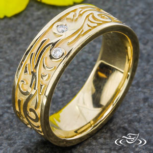 CARVED SWIRL AND DIAMOND BAND