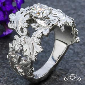 HAND ENGRAVED DIAMOND ENGAGEMENT RING IN PLATINUM