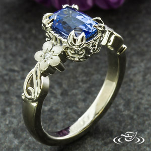 SAPPHIRE FLORAL ENGAGEMENT RING