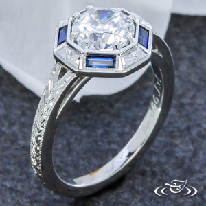 ART DECO BLUE SAPPHIRE ENGAGEMENT RING