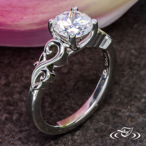 Platinum Leafy Swirl Engagement Ring