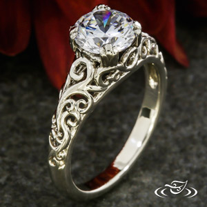 PIERCED CURL ENGAGEMENT RING