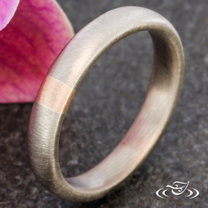 MODERN MATTE WEDDING BAND WITH ROSE GOLD ACCENT