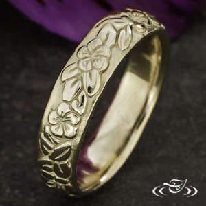 ORGANIC 14K WHITE GOLD CARVED 5.5MM BAND