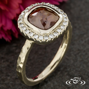 WARM WHITE GOLD RUSTIC HALO WITH  ROSE CUT DIAMOND