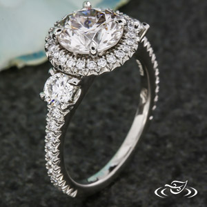 THREE STONE FRENCH SET HALO
