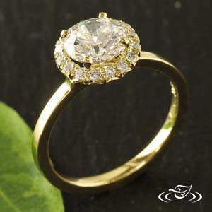18KT YELLOW GOLD HALO WITH FRENCH SET DIAMONDS
