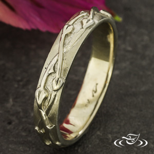 18K WHITE GOLD ORGANIC CARVED 4MM BAND