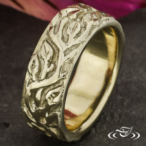 ORGANIC 18K WHITE GOLD CARVED 7MM BAND