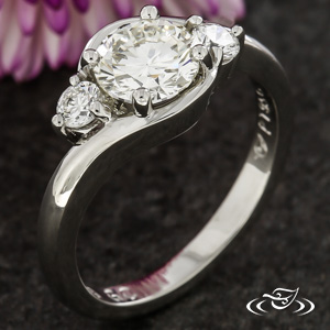Platinum 3 Stone Ring With 1.04Ct BR Diamond Center