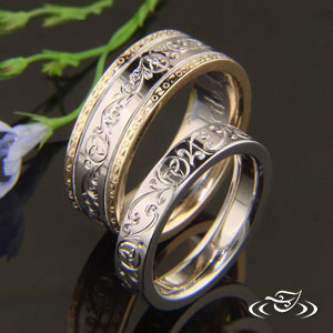 Hand Engraved Wedding band set.