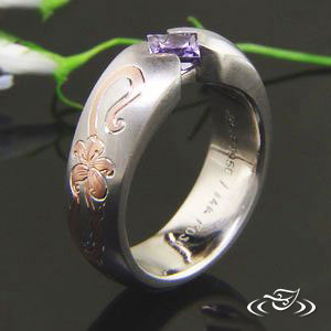 Band with Sapphire, floral Inlay & claddagh engraving