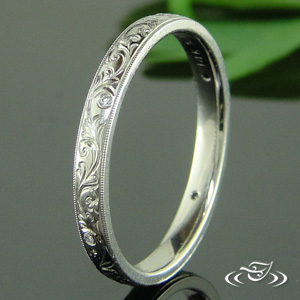 HAND ENGRAVED ANTIQUE 14K WHITE GOLD BAND