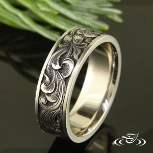 Gun Style hand Engraved wedding band.