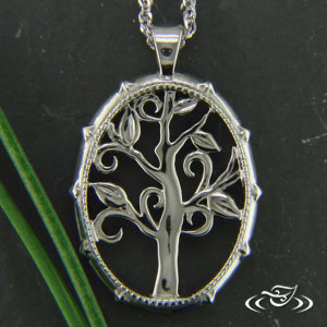 14K WHITE GOLD PIERCED CARVED TREE PENDANT