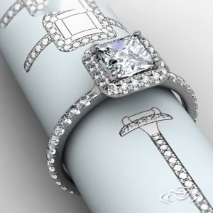 PRINCESS CUT HALO RING WITH FRENCH SET DIAMOND SHANK