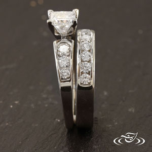 Style Wedding Band To Fit With Customers Engagement Ring Channel Set 10 GLJW Provided Canadian Accent Diamonds Across Top Flat Profile Round Inside
