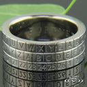 14k White Gold Fcf 8mm Spinner Decoder Band Consisting Of
